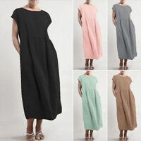 ZANZEA 8-24 Women Short Sleeve Midi Sundress Kaftan Abaya Cotton Shift Dress