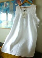 NWT Womens OPEN END ivory white embroidered  linen lagenlook dress. Size 24
