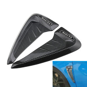 Car Side Fender Sticker Badge Emblem Shark Fin Moulding Trim Carbon Fiber Style