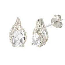 Diamond & White Topaz Earrings (.01 cttw, I-J, I2) Sterling Silver Oval Swirl