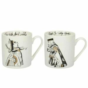 New V&A Alice in Wonderland King & Queen of Hearts Gold China Gift Boxed Mug Set