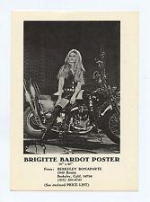 Brigitte Bardot Harley Davidson Postcard 1967 Herman Scoop Poster Promotion