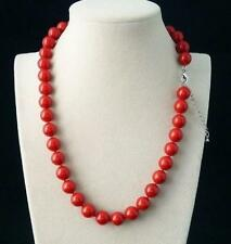 New Rare Genuine Smooth 8mm Coral Red South Sea Shell Pearl Necklac
