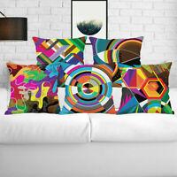 Case Cushion Pillow Cover Color Cotton Linen Waist Home Decor Sofa Geometric