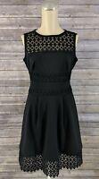 Lauren Ralph Lauren Womens Dress Petite Lace-Trim Fit Flare Black Size 0