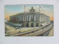 Vintage Postcard South Terminal Boston Mass City Building Railroad Train
