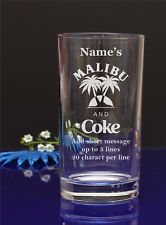 Personalised Malibu and Coke HI-BALL,Mixer glass/B-day,X-mas present/gift 120