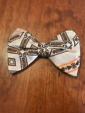 Bow Tie Vintage style 70`s Extra Large Bowtie Oversized Clip on  Brown Gold
