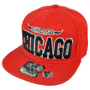 Chicago City Chi Town Illinois Solid Red Bull Horn Adjustable Snapback Hat Cap