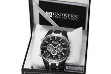 Mens Part Stainless Steel Black Chronograph Alarm Sports Watch Discount SRP£425
