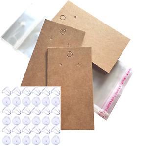 Jewellery Display Cards Starter Pack Earring Bags & Earring Back Bullets   Brown