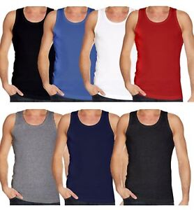 Men's VESTS 100% Cotton Tank Top Summer GYM TRAINING SLEEVELESS CHOSE PACK SIZE