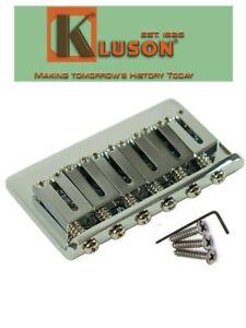 Genuine Kluson 6 String Fixed Hardtail Bridge for USA Fender Strat. Chrome KSB-C