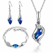 NWT 925 Silver Austrian Crystal Rhinestone Necklace Earrings Bracelet Set U Pick