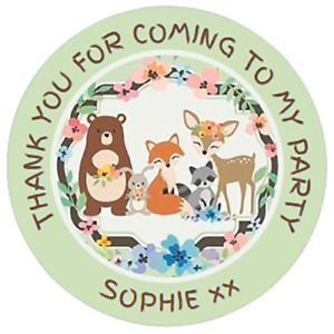 48 Personalised Party Bag Stickers WOODLAND CREATURES 40mm Labels