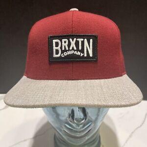 Brixton Supply Trade Mark Flat Gray Bill Snapback Hat Red Burgundy EUC