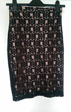 Lovely Dorothy Perkins Wooly Smart Pencil Skirt Black with peach insert UK 8