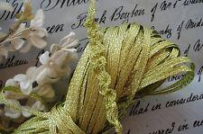 1y VINTAGE FRENCH GREEN GOLD METAL RUCHING BRAID RIBBON TRIM DOLL FLOWER DRESS
