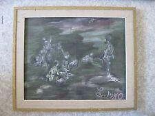 quadro scena di guerra militaria 1971 firmato L. PINO pittore Umbria 74x63