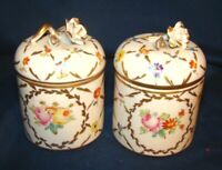 French Sevres Type Trinket Boxes Jars w/ Hand Painted Florals & Flower Finials