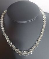 LOVELY VINTAGE 50S 60S CLEAR LEAD GLASS BEAD CHOKER NECKLACE 16 INCHES