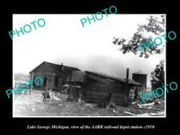 OLD LARGE HISTORIC PHOTO OF LAKE GEORGE MICHIGAN RAILROAD DEPOT STATION c1910