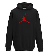 JUKO Children's Jordan Hoodie Basketball Michael Bulls Air NBA Unisex Black 12-13 Years