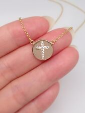 "Sterling Silver 925 Cz Cross Pendant Necklace Cross Disc Womens 18"" Silver Gold"