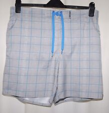 Firefly Mens Grey & Blue Check Board Shorts Size L