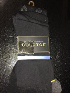 GOLD TOE Signature Men's Crew Dress Socks, 4 PAIR, Shoe Size 6-12 1/2 (1 Miss)