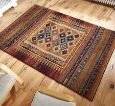 Gabbeh Tribal Rugs Multi Colour Rust & Blue Wool Look 120x180cm 107 R