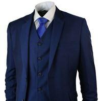 Mens Tonic Royal Blue 3 Piece Suit Short Regular Long Formal Wedding Prom Party