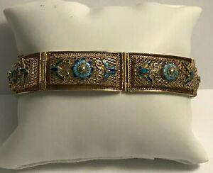 Vintage Chinese Sterling Silver Vermeil Filigree  Enamel Bracelet