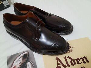 NWB Alden x J.Crew Shell Cordovan Longwing Bluchers Shoes Sz 10.5 D Burgundy