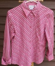 Woman's Pink & White Shirt by Worthington Stretch; Size:  8