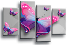 Butterfly Heart Wall Art Grey Pink Blue Childs Bedroom Canvas Split Picture