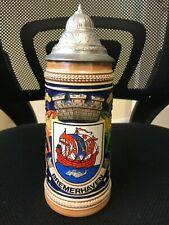 """Vintage German Gerz Bremerhaven Coat of Arms Beer Stein 9"""""""