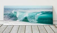 Turquoise blue rolling waves beautiful sea panoramic canvas print framed