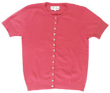 AGNES B. Womens Sz 3 /US 8-10 Short Sleeved Swing Snap Cardigan Raspberry Sorbet