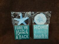 ~~~New~~(2) Cute Beach Shell Top Plaques~~~Size : 6 By 3~~Multi-Colored~~~
