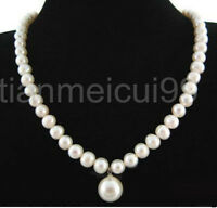 Elegant 7-8mm White freshwater Cultured Pearl shell Pendant Necklace 18""