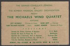 The Michaels Wind Quartet 1964 India performance advertisement
