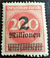 Rare Weimar Republic German Empire 1923 Overprinted Stamp 2 mill on 200 mark