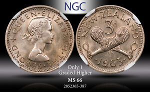1963 NEW ZEALAND 3 PENCE NGC MS66 ONLY 1 GRADED HIGHER