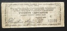 Philippines Currency 1943 Money emergency CIRCULATING note  MINDANO 20 centavos