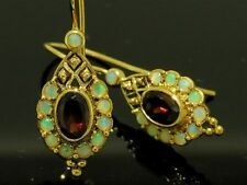 CE015- Genuine 9ct SOLID Gold NATURAL Garnet & Opal Charming Drop Earrings