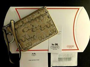 Coach Brown Gold Silver Logo COACH Coin Purse ID Mini Skinny Keychain Wallet NWT