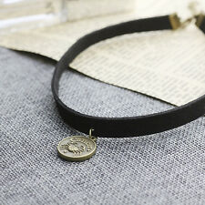 Leather Choker Necklace Cancer Charm Necklace Zodiac Sign Jewelry Birthday Gift