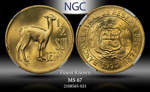 1975 PERU 1/2 SOL DE ORO NGC MS 67 FINEST KNOWN TOP POP