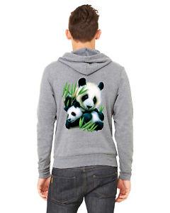 Men's Panda & Cub C9 Gray Zipper Hoodie Wildlife Bear Safari Zoo Animal Beast
